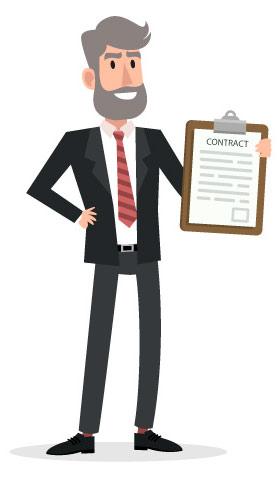 Agente de Negócios segurando um contrato